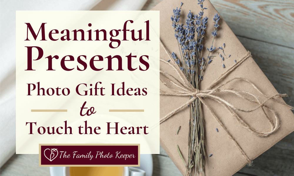 a wrapped photo gift with a sprig of lavender in the bow